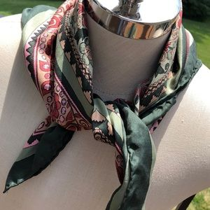 Beautiful vintage silk scarf with hand rolled edge